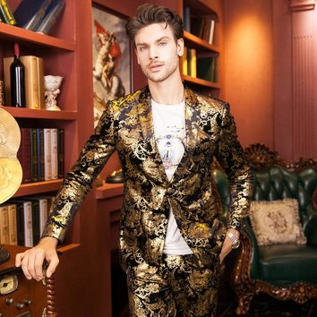 gold blazer jacket coat prom wedding groom party autumn winter decorative outfit personality singer dancer stars performance