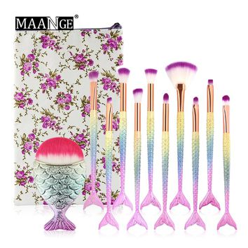MAANGE New 11PCS Pro Mermaid Makeup Brushes Set Foundation Blush Powder Concealer Eyebrow Brush With Pencil Travel Cosmetic Bag