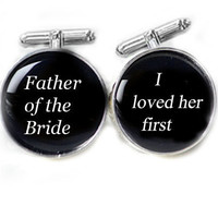Black Father of the Bride Cufflinks Customize Glass Name Date Wedding Men Resin Photo Cuff Links Personalized Keepsake Gift
