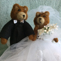Needle felted Bear wedding cake topper animal FREE SHIPPING sculpture felting unique gift one of a kind fiber art cute figurine felt doll