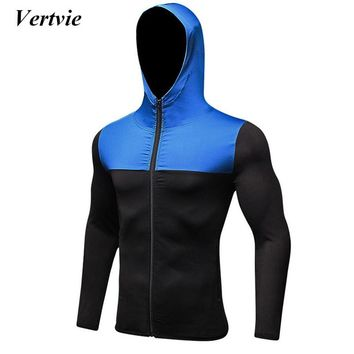 Vertvie Brand Running Training Jackets Elastic Quick Dry Fitness Jacket Men Exercise Zipper Hooded Jacket Workout Sportswear