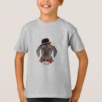 Wuff -- Dog with a hat and Bow Tie T-Shirt