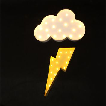 Cloud and Lighting  LED Marquee Wall Lamp