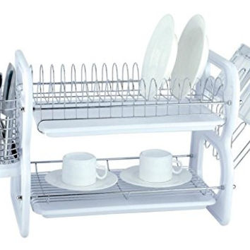 EuroWare Heavy Duty Plastic Chrome Plated Steel Large 2 Tier Dish Drying Rack with Trays, Cutlery and Cup Holder, 22 Inches, White
