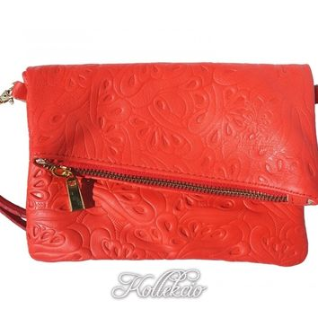 Italian Folded Red Genuine Leather Clutch with Pattern