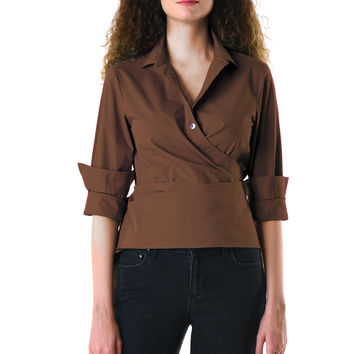 Pleated surplice cotton poplin wrap shirt