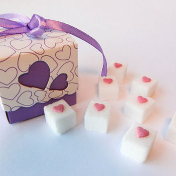 Pink Heart Sugar Cubes Wedding Favors, Baby Shower Favors, Bridal Shower Favors: 5 Cute Favor Boxes (Heart, Giraffe, Panda, Owl, Dog, Cat)