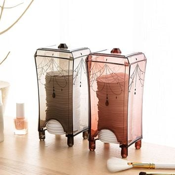 1pcs Make Up Cotton Transparent Plastic Storage Box Container Tin Boxes Dresser Cosmetic remove Makeup Cotton Desk organizer