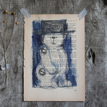 Bear Original watercolor painting animal art Teddy Stuffed Toy tall hat aquarelle Vintage old page