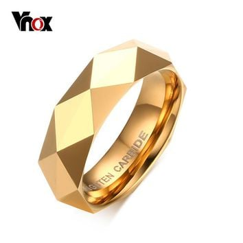 Vnox Men's Rhombic Cut Tungsten Carbide Promise Wedding Bands Ring  Gold-color Rings for Men Free Gift Box