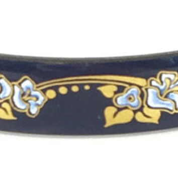 Vintage Michaela Frey Enamel Bracelet Floral Blue & Gold Enameled Bangle Art Nouveau Bracelet Designer Austria Estate Jewelry 1960s