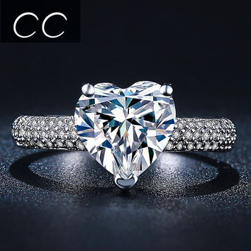 Hot Sale Best Gift for Engagement & Wedding Heart Shaped Simulated Diamond Rings for Women Bague Bijoux Ring for Proposal CC048