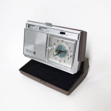 Vintage Travel Alarm Clock, Westinghouse Wind Up Clock and Radio, 1960's Folding Alarm Clock