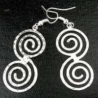 Hammered Scroll Silver Overlay Earrings - Artisana