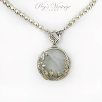 Vintage Unique Glass Amulet Ornate Pendant Necklace, Antiqued Filigree Silver Pendant Bead Necklace