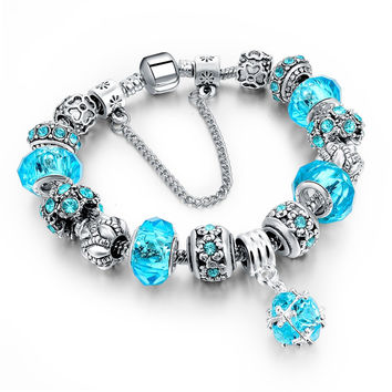 Fashion DIY Crystal & Glass Beads Charm Bracelets For Women Snake Chain Bracelets & Bangles Pulsera