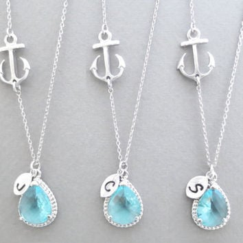 Set of 1-4, Personalized, Letter, Initial, Sideways, Anchor, Aquamarine, Sky blue, Glass, Stone, Silver, Necklace, Sets, Wedding, Gift