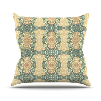 "Mydeas ""Fancy Damask Antique"" Brown Teal Throw Pillow"