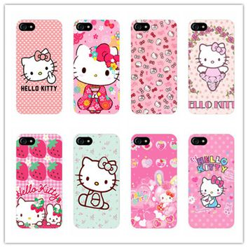 cute cartoon Hello kitty design plastic case For Samsung Galaxy s3 s4 s5 s6 s7 edge phone cover for iphone 5s 5 5c E 6 6s 7 plus