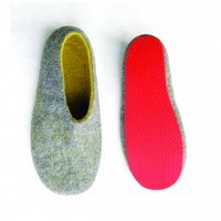 Mens Felted Clogs Grey Yellow Contrast Sole from WoolWalker | Made By Wool Walker | £99.00 | BOUF