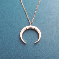 Horn, Rose gold, Necklace, Modern, Horn, Horseshoe, Necklace, Birthday, Best friends, Sister, Gift, Jewelry