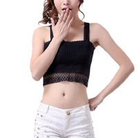 Encounter Womens Transparent Lace Chest Wrapped Crop Tank Crop Top,Black