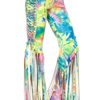 J-Valentine All Over Print Faux Suede Lace-Up Fringe Pants