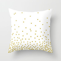Gold polka dot Throw Pillow by cafelab