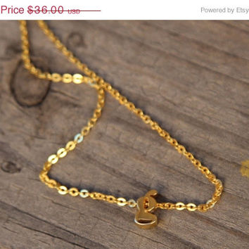 ON SALE Hello February SALE - Tiny letter Necklace - Initial Jewelry/Bridesmaid Gift - Valentines Gift - Ships in 1-2 Weeks