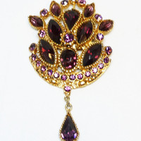 Modern Victorian Style Brooch - Purple Amethyst Glass Marquis and Chaton Rhinestones with Dangling Teardrop