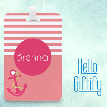 Personalized travel tag card case, Custom Name Luggage Tag Bag Tag, name gift tag, anchor style stripe design, pu faux leather tag