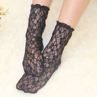 Lace Socks Women Sexy Vintage Ankle Kawaii Socks for Girls Transparent Socks