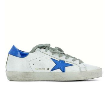 ONETOW GOLDEN GOOSE DELUXE BRAND SUPERSTAR SNEAKERS WHITE LEATHER BLUE