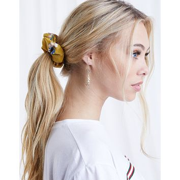Single Mustard Floral Scrunchie