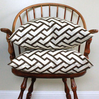 "Quadrille Aga Brown on Tint 20"" pillow cover - Pattern on Both Sides"