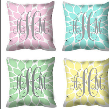 Monogram PILLOW, THROW Pillow with Insert, Pillow SHAM Pillow Case, Flower Burst, College Dorm Decor, Baby Nursery Pillow, Baby Monogram