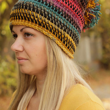 Crochet Beanie Hat Crochet Colorful Hat Slouchy Hat Beanie for Women Boho Hat Rainbow Hat Big Pompom Hat Chunky KNit Hat Slouchy Beanie Hat