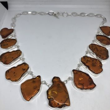 Vintage Baltic Amber Silver necklace