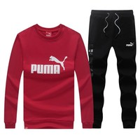 puma fashion casual top sweater pants trousers set two piece  number 2