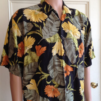 Tommy Bahama Silk Shirt Mens Size Large Short Sleeve Button Front L