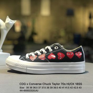 CDG x Converse Chuck Taylor 70s HiOX 18SS CDG PLAY Black Causel Shoes Sneaker