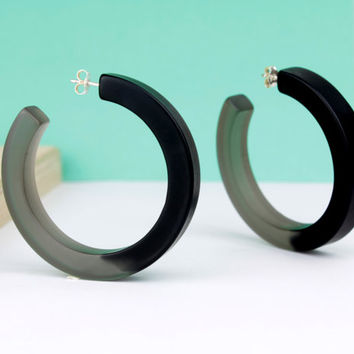 Black resin hoop earrings, black resin earrings, resin and silver hoop earrings, resin jewelry, necklace therapy, gift for her, bold hoops