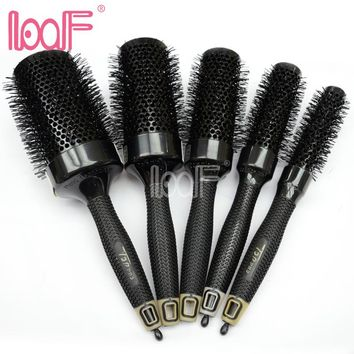 LOOF New 6 Sizes Nano Thermal Ceramic Ionic Round Barrel Hair Brush Tail Curling Comb for Hairdressing Styling Hair Beauty Tool