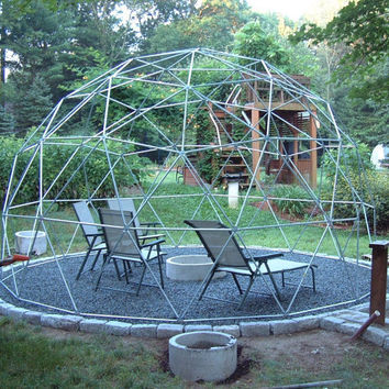 16 ft Geodesic Dome Garden Trellis, Over 9 ft High, Complete Kit