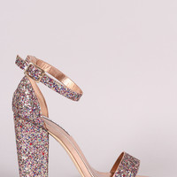 Glitter Encrusted Ankle Strap Chunky Heel