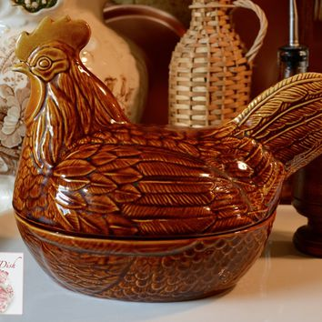 Vintage English Country Staffordshire Nesting Hen on Nest Amber Brown Glaze Finish Chicken Egg Basket Tureen England
