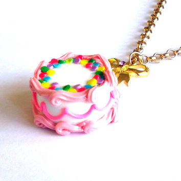 Pink Birthday Cake Necklace by FatallyFeminine on Etsy
