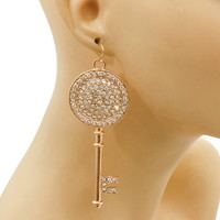 Rhinestone Key Pendant Earrings