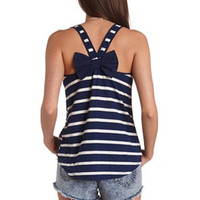 STRIPED BOW-TOPPED TANK TOP