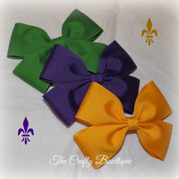 Mardi Gras Solid Boutique Bow ~ Large Hair Bow ~ Choose your own color ~ Mardi Gras Hair Bow ~ Purple ~ Green ~ Yellow Gold ~ Headband Bow